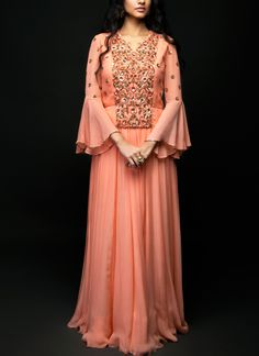 SHIVAZZ by Angad Siddhu | Peach Georgette Embroidered Gown | Shop Gowns at strandofsilk.com