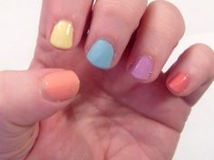 An easy Easter or Spring nail art look.  Pastel Skittles. - http://styleonmain.net/