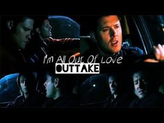 "Jensen/Dean singing ""I'm All of Love"" in a SPN outtake. Hahaha I think the best part of this is Sam's facial expressions"