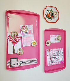Cookie sheets turned into magnet boards