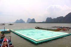 The famous floating football pitch at Koh Panyee, a village built on stilts in the Andaman sea