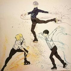 Yuri on ice painting,  viktor / Victor  Nikiforov , Yuri Katsuki ,yuri plisetsky , ice skating,  watercoloured #yoi #victuuri