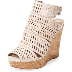 Charles by Charles David Women's Apt Laser-Cut Wedge Sandal -... ($65) ❤ liked on Polyvore featuring shoes, sandals, ankle wrap sandals, wedges shoes, high wedge sandals, ankle wrap wedge sandals and leather sandals