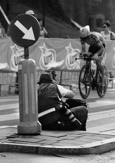 Sport photographer - Photographer taking photo of cyclist during 2015 Tour de Pologne.