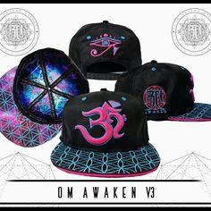 839c566d64a Pink Blue Om AWAKEN V3 Hemp Crown    Secret Pocket Festival Snapback Hat     Sacred Geometry