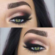 31 Pretty Eye Makeup Looks for Green Eyes: #18. PERFECT EVENING MAKEUP LOOK #celebritymakeuplooks