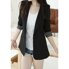 Elegant Lapel Slimming Solid Color Splicing Design Polka Dot Long Sleeve Cotton Blend Women's Blazer, BLACK, ONE SIZE in Blazers | DressLily.com