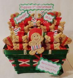 Custom Christmas dog treat gift basket #dogs #pets #Christmas #holiday #giftidea