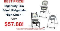 Perfect for your growing baby! Get the Ingenuity Trio 3 in 1 Ridgedale High Chair for only $57.88! BEST PRICE!  Click the link below to get all of the details ► http://www.thecouponingcouple.com/ingenuity-trio-3-in-1-ridgedale-high-chair/ #Coupons #Couponing #CouponCommunity  Visit us at http://www.thecouponingcouple.com for more great posts!