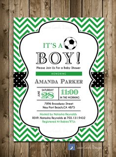 invitación de ducha baby fútbol invitación de por lunarcardsdesign