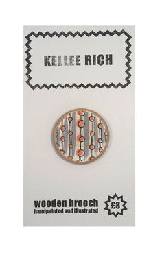 handpainted wooden brooch  pin  badge  stripes by KELLEERICH, £8.00 #brooch #handmade #handpainted #illustrated #wood #pin