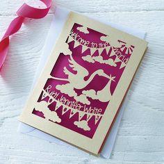 personalised new baby papercut card by pogofandango | notonthehighstreet.com