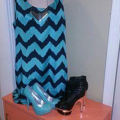 Sleeveless dress Minty green and black chevron print shift dress with black slip liner attached Cato Dresses Midi