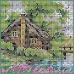 Aquí so dejo estas 4 casas para que las hagas a punto de cruz.     Cada una de ellas te anuncia las estaciones del año: Primavera, Verano, ...