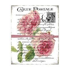 Antique Botanical Roses Vintage French Calligraphy Carte Postale Digital Collage Sheet  Instant Download Transfer Graphic Printable by FrenchPaperMoon on Etsy