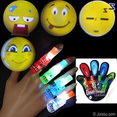 4 PIECE EMOJI FINGER BEAM PROJECTOR SETS. With just the flip of a switch, you can project light images to everyone's amazement. Each equipped with elastic to keep on your fingers. Assorted colors. 3 button batteries included. Each set of 4 blister carded.  Size 2 Inches, packaging 6 X 5.5 Inches