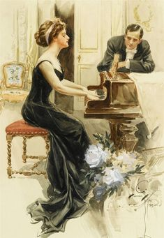 View A lady and her suitor by Harrison Fisher on artnet. Browse upcoming and past auction lots by Harrison Fisher. Love Vintage, Vintage Prints, Vintage Images, Vintage Ladies, Vintage Woman, Vintage Artwork, Vintage Illustrations, Motif Music, Piano Art