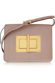 Natalia large textured-leather shoulder bag