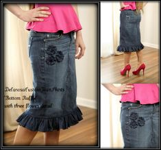 Beautiful Bottom Ruffle modest denim skirt w/three flower detail Custom size 2 4 6 8 10 12 14 16 18 20 22 24 26