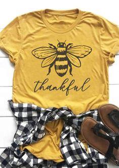 Thanksgiving Bee Blessed O-Neck T-Shirt Tee - Yellow - Fairyseason Home T Shirts, Tee Shirts, Sports Shirts, Funny Shirts, Arrow T Shirt, Thanksgiving Outfit, Thanksgiving Celebration, Neck T Shirt, 1 Piece