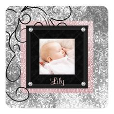 Elegant Pink and Black Baby Girl Photo Birth Custom Announcements