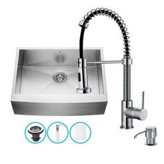 Vigo All-in-One Farmhouse Apron Front Stainless Steel 30 in. Single Bowl Kitchen Sink with Chrome Faucet