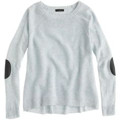 J.Crew Elbow-patch sweater ($80) ❤ liked on Polyvore featuring tops, sweaters, shirts, jumpers, j crew sweaters, cocktail cuff shirt, evening tops, relax shirt and cuff shirts