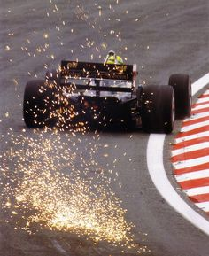 "Senna weekend … ""what we miss … sparks another shot of Senna attacking Eau Rouge in his JPS Lotus-Renault 98T during the 1986 Belgian Grand Prix, Francorchamps """