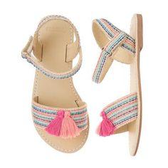 Girls Pink Stripe Tassel Sandals by Gymboree