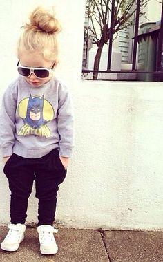 baby swag batman swaeat shirt dosent she look coo. Fashion Kids, Little Girl Fashion, My Little Girl, My Baby Girl, Toddler Fashion, Tomboy Baby Girl, Baby Swag Girl, Tomboy Kids, Bat Girl