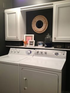 I love the clothespin mirror in the laundry room My Nearly Empty Nest: Laundry Room Makeover