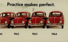 1964 VW sales postcard  I had a red '63 VW, with 4 battered fenders, my dad bought it this way, couldn't wreck it that way, I guess:)