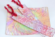 """Watercolor Spin Art """"I Love You"""" Bookmarks - would be great for Dad."""