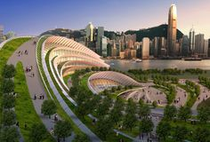 A steep artificial hill is integrated into a design for a train station in Hong Kong.