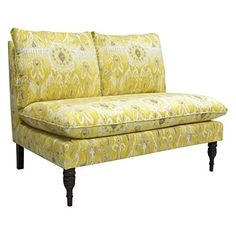 Skyline Armless Upholstered Loveseat in Alessandra Lemon * Check out the image by visiting the link.