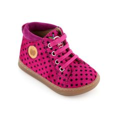 Pom d'Api - Fuchsia and black spotted high top trainers - 50066