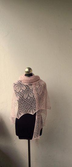 Merino and Silk cobweb shawlhand knitted Light Pink lace   Etsy Bridal Shawl, Knitted Shawls, Lace Knitting, Pink Lace, Scarves, Silk, Pattern, Etsy, Knit Shawls
