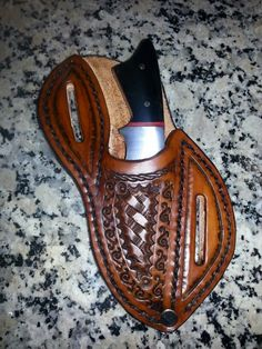 Hand Made Basket Weave Stamped Leather Knife Sheath Aw Leather Goods Reliable Performance Other Equestrian