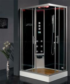 The Ariel Platinum DZ960F8 Steam Shower has a 6KW steam generator, six body massage jets, a handheld showerhead, storage shelf and removable stool. Experience showering like you never have before with aromatherapy and chromatherapy lighting.