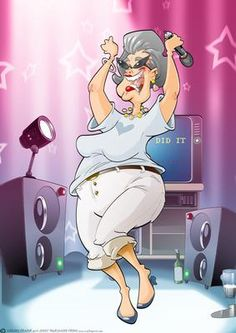 Karaoke Queen Dudess on Craftsuprint designed by Gordon Fraser - This Dudess… Karaoke Funny, Old Fashioned Love, Fat Art, Old Folks, Music Sing, Cartoon People, Art Impressions, Character Design Animation, Hippie Art