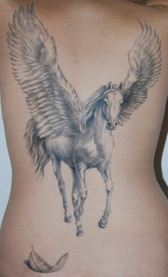 Michele Pitacco pegasus tattoo. I'm not into horses but the white and grey is lovely!