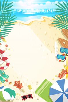 Beach Background, Best Background Images, Cartoon Background, Beach Cartoon, Summer Cartoon, Beach Play, Beach Art, Summer Backgrounds, Colorful Backgrounds