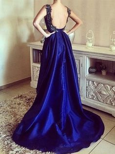 A-line Straps Royal Blue Satin Asymmetry Backless Prom Dress with Appliques Beading,432
