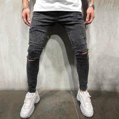 Casual Solid Paneled Cutout Jeans – maxgonia Casual Jeans, Jeans Style, Men Casual, Smart Casual, Ripped Denim, Denim Pants, Men's Jeans, Skinny Guys, Jeans Material