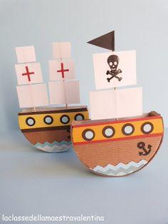 Ma quante cose si possono fare con le scatole di formaggino!!!   Ecco le mie piccole imbarcazioni...      LE NAVI           LA NAVE DEI P...