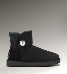 Womens 2013 Uggs Mini Bailey Button Bling Black Boots,