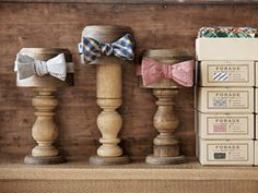 Husband and wife Stephen Loidolt and Shauna Alterio's dandy bow ties made from vintage fabric.
