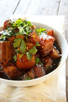 Spicy caramel pork belly