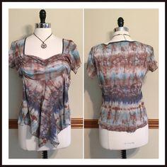 Tan & baby-blue Ombre boho asymmetric blouse Flirty peasant top from Macy's. Ruched empire waist. Asymmetric hem. Cap sleeves. Size large. EUC Cha Cha Vente Tops Blouses