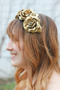 Skip the Easter bonnet and opt for this quick DIY floral headband made with metallic golden roses.
